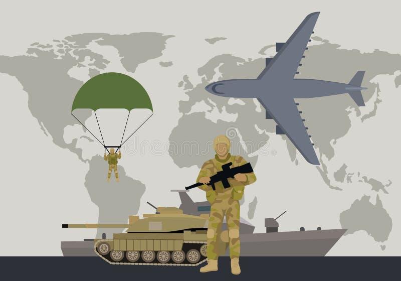 Moderna krigsmakttyper sänker vektorbegrepp royaltyfri illustrationer