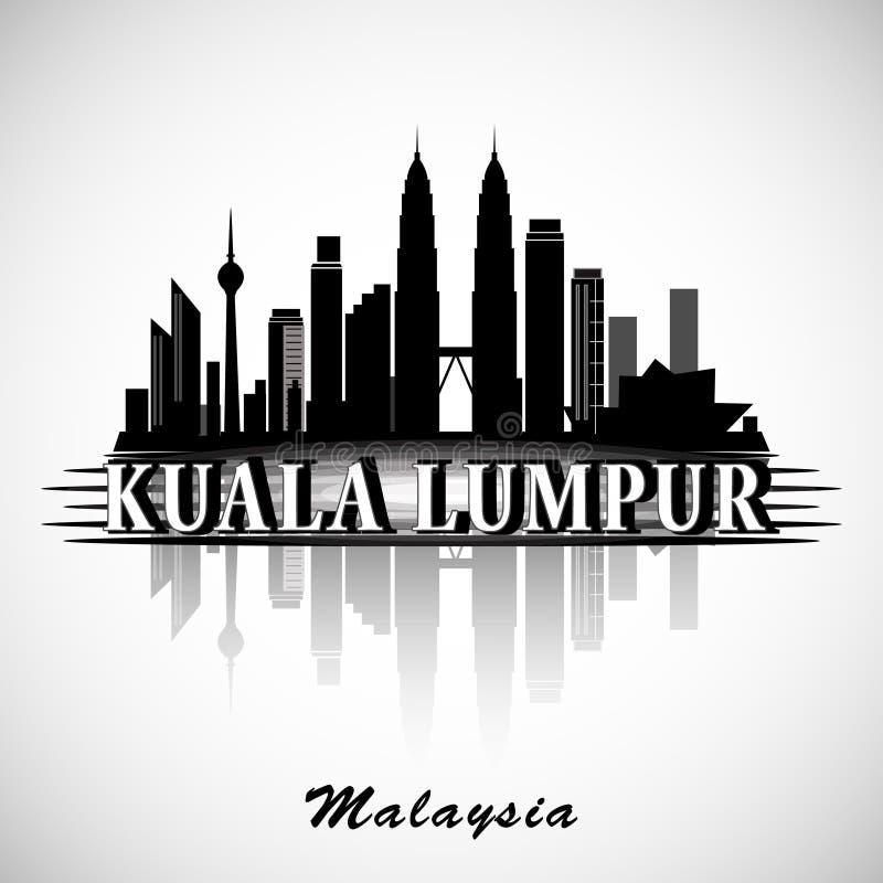 Moderna Kuala Lumpur City Skyline Design stock illustrationer