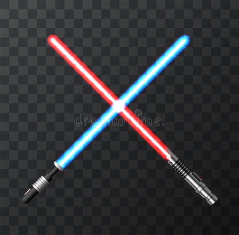 Moderna ljusa svärd för vektor på mörk bakgrund vektor illustrationer