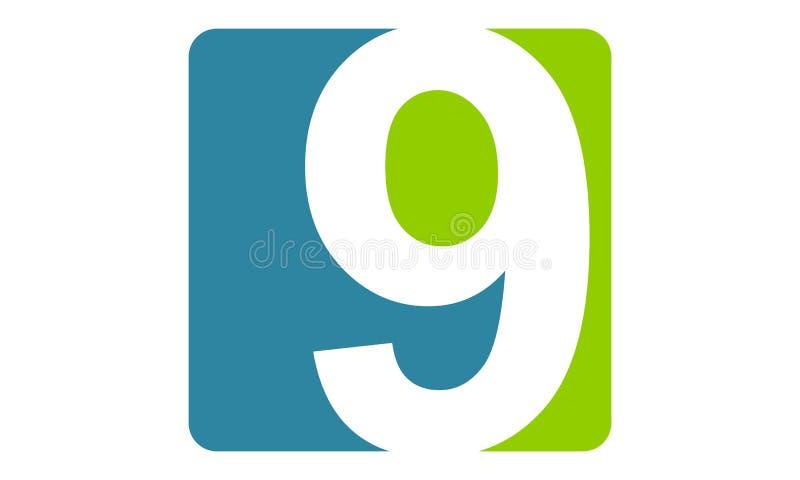 Moderna Logo Number 9 vektor illustrationer