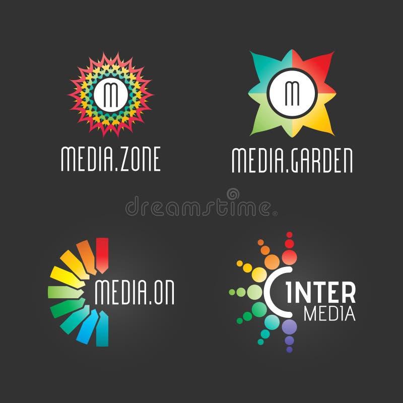 Moderna Logo Set Mall för Massmedia Teknologi Affär Företag lyckad symbolrengöringsduk Logo Vector Elements Pack Märkessymbolsdes royaltyfri illustrationer