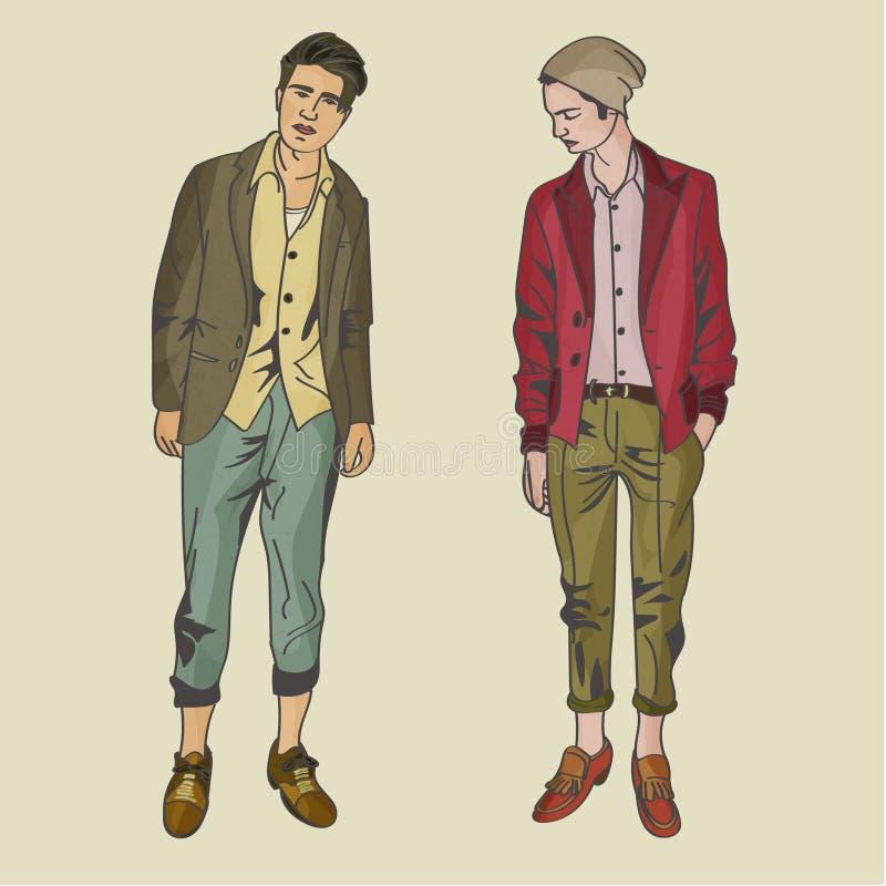 Moderna manliga Hipstermodeller stock illustrationer