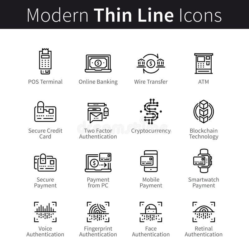Moderna mobil- och skrivbordssäkerhetssymboler vektor illustrationer