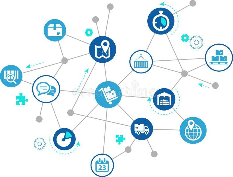 Moderna och innovativa företagslogistikprocessar och teknologi royaltyfri illustrationer