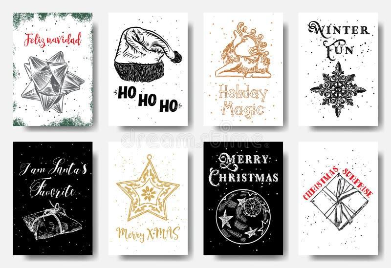 Moderna och klassiska idérika julkort i svart, guld och w royaltyfri illustrationer