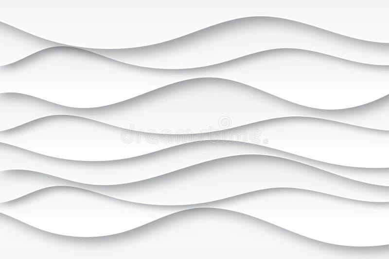 Moderna pappers- vågor för vatten för vit och för grå färger för konsttecknad filmabstrakt begrepp royaltyfri illustrationer
