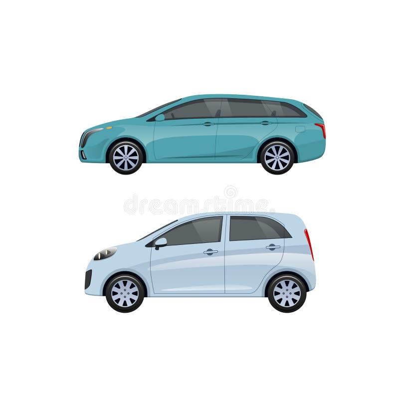 Moderna passagerarebilar för familjer, långa turer, lopp, trans.bagage stock illustrationer