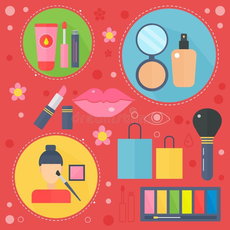 Moderna plana designskönhet- och shoppingbegreppssymboler Symboler för skönhet, shopping, begrepp för modekropphälsovård stock illustrationer