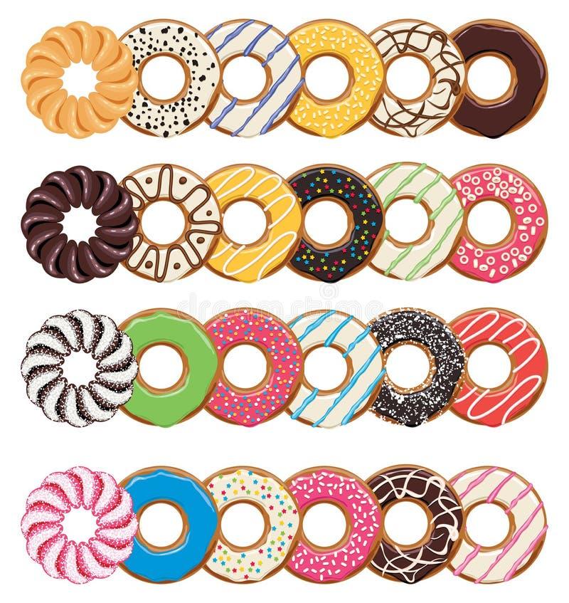 Moderna plana stilsymboler av färgrika donuts vektor illustrationer