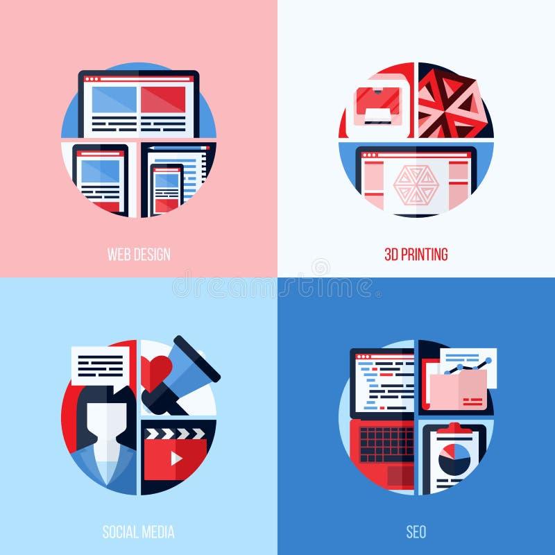 Moderna plana symboler av rengöringsdukdesignen, 3D printing, socialt massmedia, SEO stock illustrationer