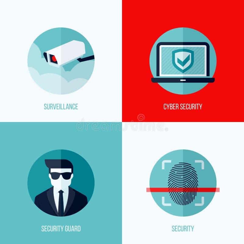 Moderna plana vektorbegrepp av säkerhet och bevakning royaltyfri illustrationer