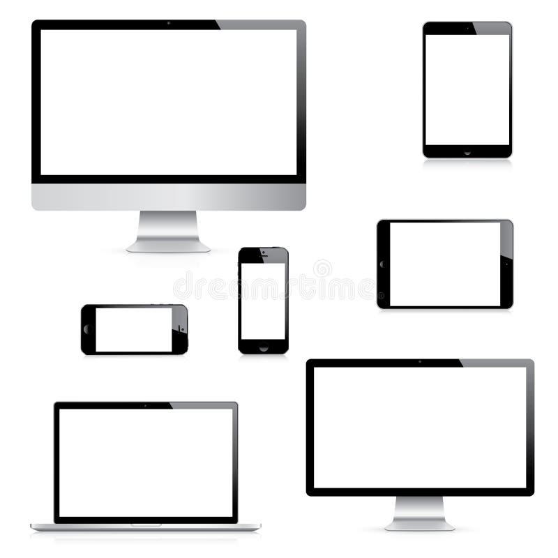 Moderna realistiska dator-, bärbar dator-, minnestavla- och smartphonevektorer ställde in stock illustrationer