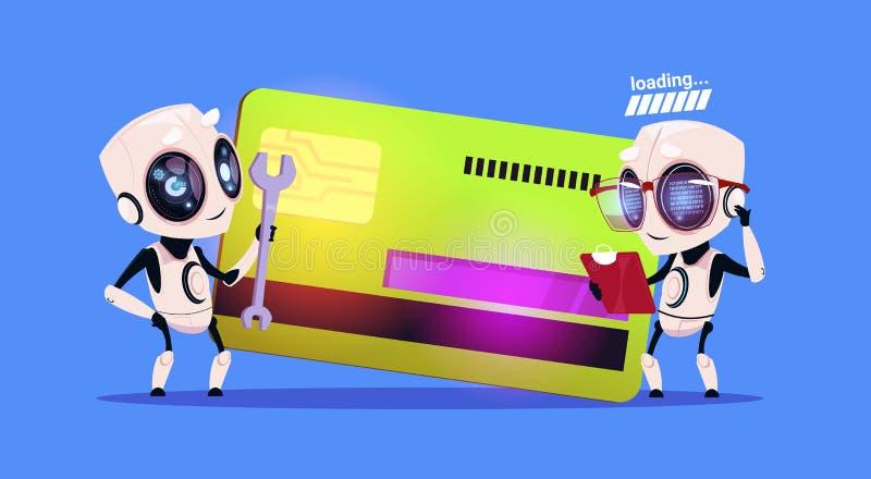 Moderna robotar som står över kreditkorten som läser dokument och rymmer för teknologibetalning för skruvnyckel Robotic begrepp royaltyfri illustrationer