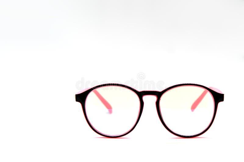 Moderna rosa färg- och blåtiraexponeringsglas som isoleras på vit bakgrund arkivbild