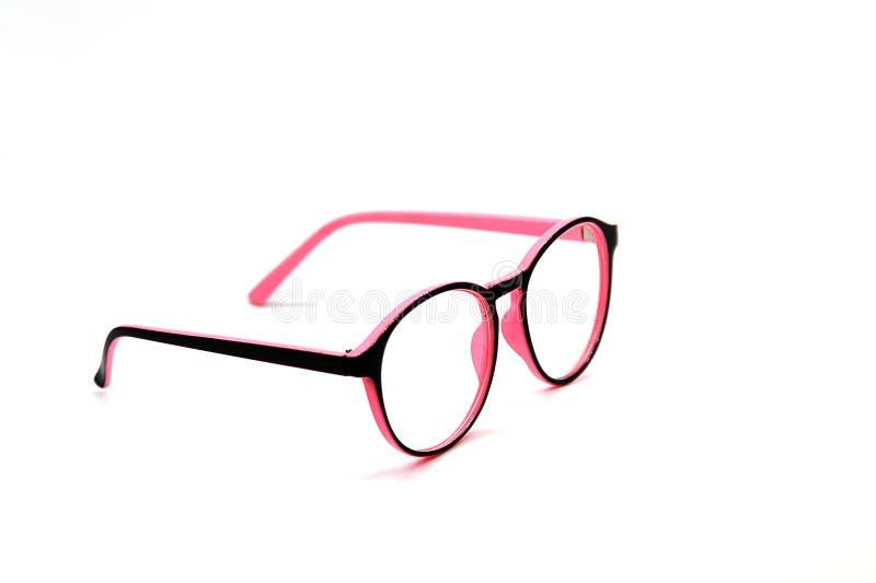 Moderna rosa färg- och blåtiraexponeringsglas som isoleras på vit bakgrund royaltyfria foton
