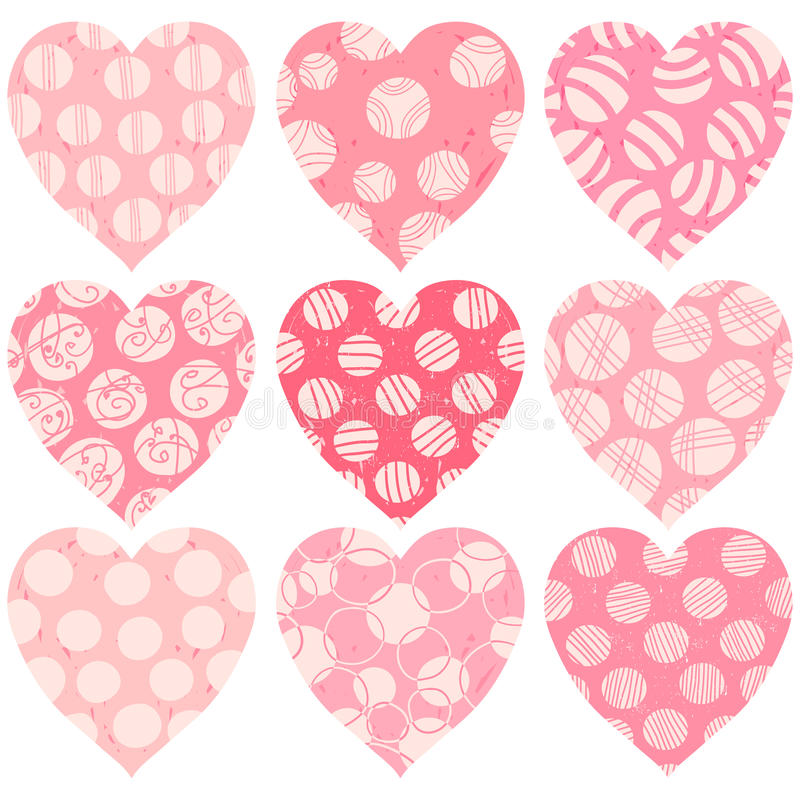 Moderna rosa hjärtor med prickar, klottrar och textur vektor illustrationer
