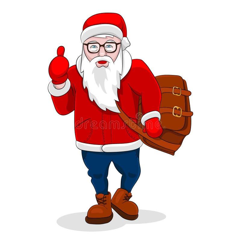 Moderna Santa Claus kommer att gå upp och visa tummen stock illustrationer