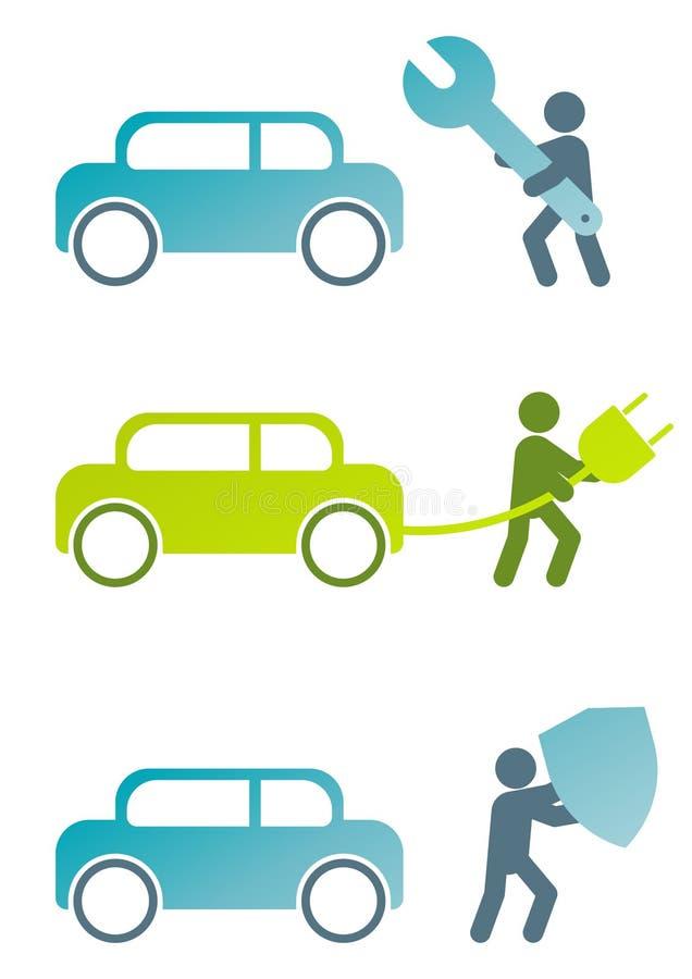 moderna släkta tecken för bil royaltyfri illustrationer