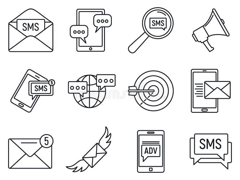 Moderna sms som marknadsför symbolsuppsättningen, översiktsstil stock illustrationer