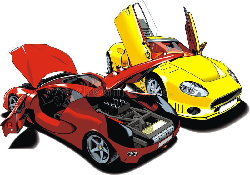 Moderna sportbilar (min original- design) royaltyfri illustrationer