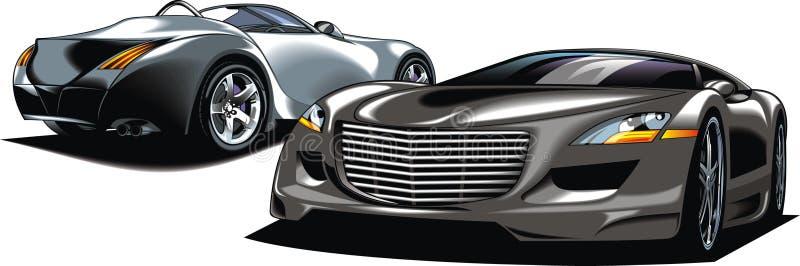 Moderna sportbilar (min original- design) vektor illustrationer