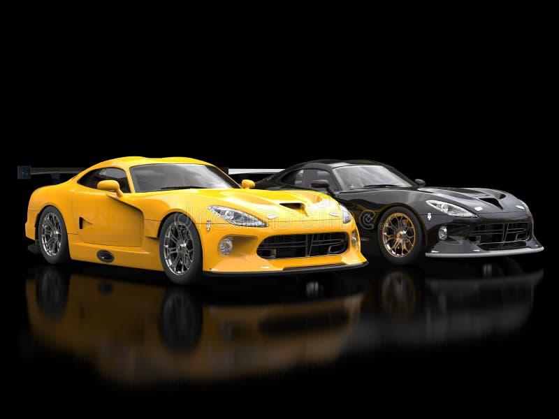 Moderna sportbilar - svart och guling vektor illustrationer