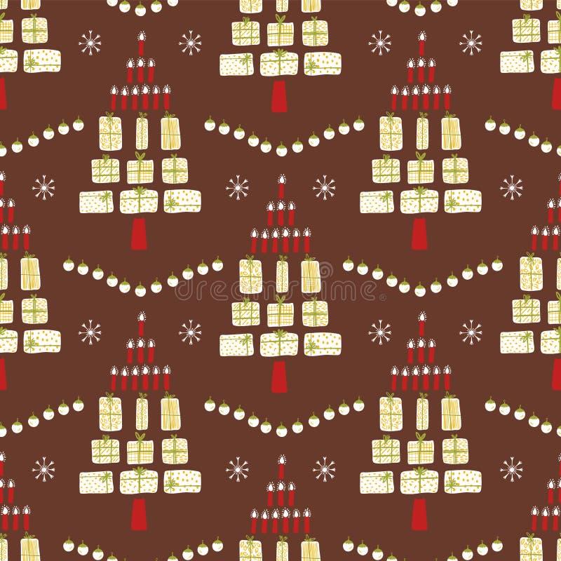 Moderna stearinljus för julgrangåvajordlotter vektor illustrationer