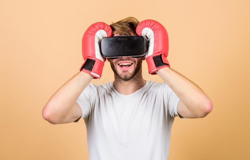 moderna teknologier manbruksny teknik boxning i virtuell verklighet Digital sportframgång vrboxning framtid arkivbilder