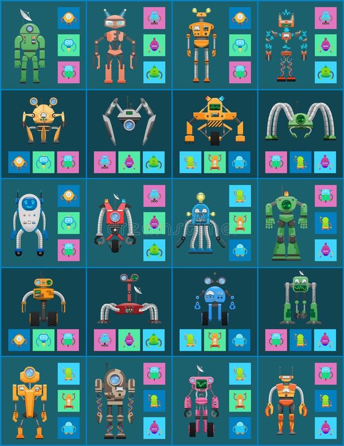 Moderna trådlösa robotar med uppsättningen för automatiskt system stock illustrationer