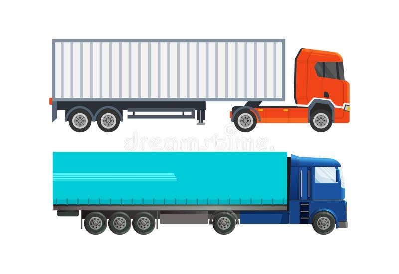 Moderna tunga bilar, lastbilar, för leveransen av post, last vektor illustrationer