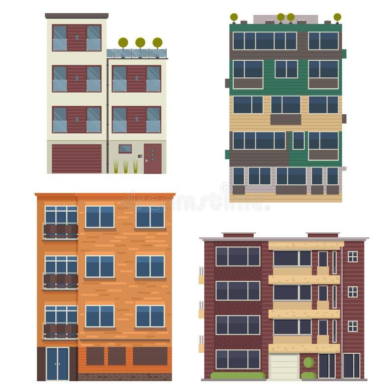Moderna uppehällehus och hyreshusar royaltyfri illustrationer