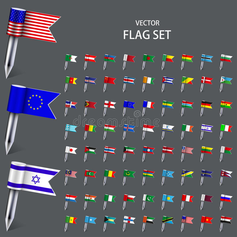 Moderna uppsättningflaggor för vektor av världen royaltyfri illustrationer