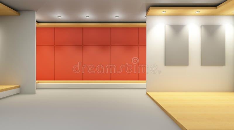 Moderna utställninggallerisamtida och bildramar på väggskärm arkivfoton