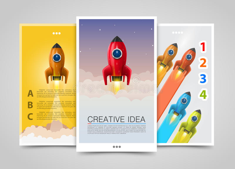 Moderna vertikala baner, idérik idé, ledare 3d upp, raketreklamblad vektor illustrationer