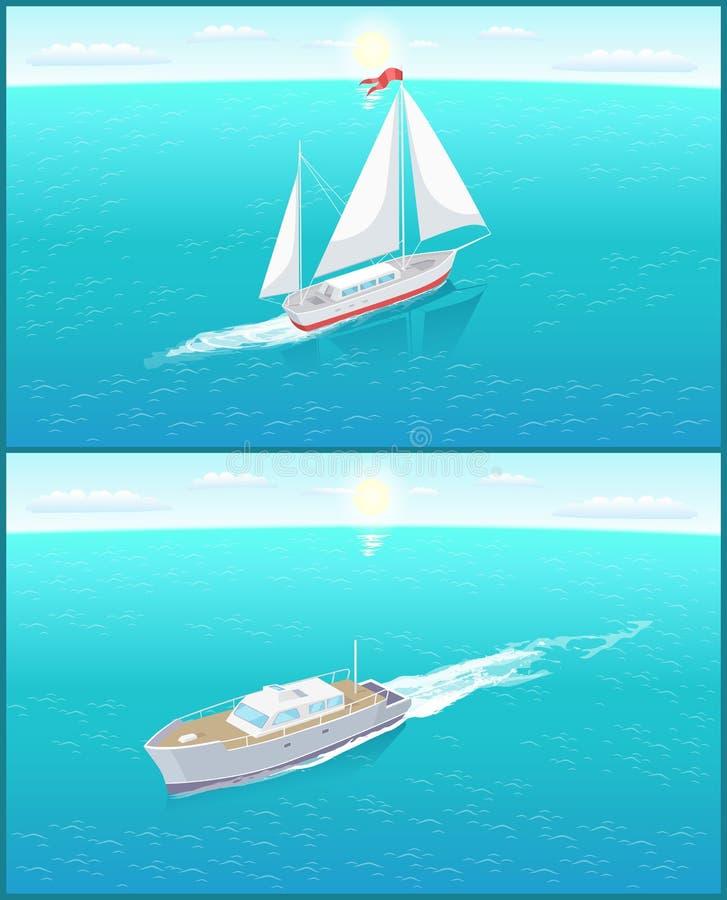 Moderna yachter Marine Nautical Personal Ships Icon royaltyfri illustrationer