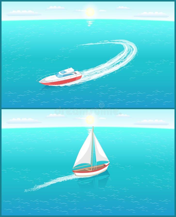Moderna yachter Marine Nautical Personal Ships Icon vektor illustrationer