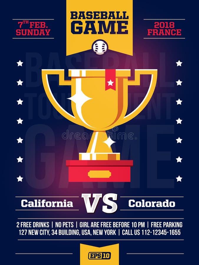 Moderna yrkesmässiga sportar planlägger affischen med en baseballturnering och kopp i blått tema vektor illustrationer