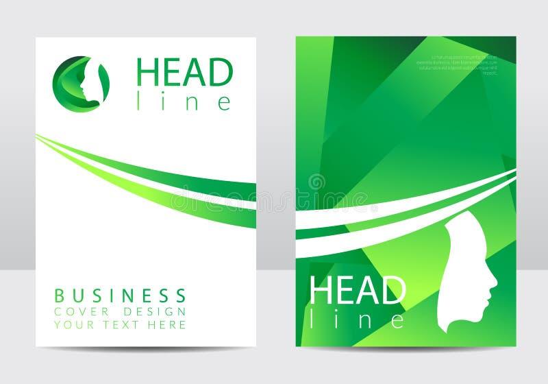Moderne Abdeckungsdesignschablone Menschliches Gesicht des Profils Kreative Art Firmenzeichen im Vektor Konzept des Entwurfes Grü vektor abbildung