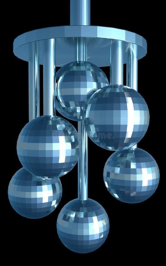 Moderne abstracte decoratie met disco 6 zoals ballen Geïsoleerde 3d geeft terug royalty-vrije illustratie