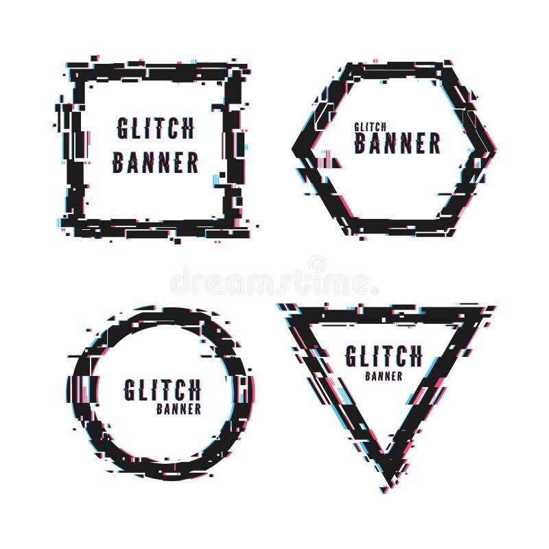 Moderne abstracte die banners in vervormde glitch stijl worden geplaatst Geometrische kadervorm met glitch effect Vector Ge?solee stock illustratie