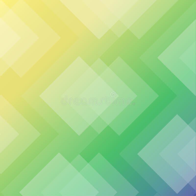 Moderne abstracte geometrische achtergrond geelgroene blauwe ruitachtergrond stock illustratie