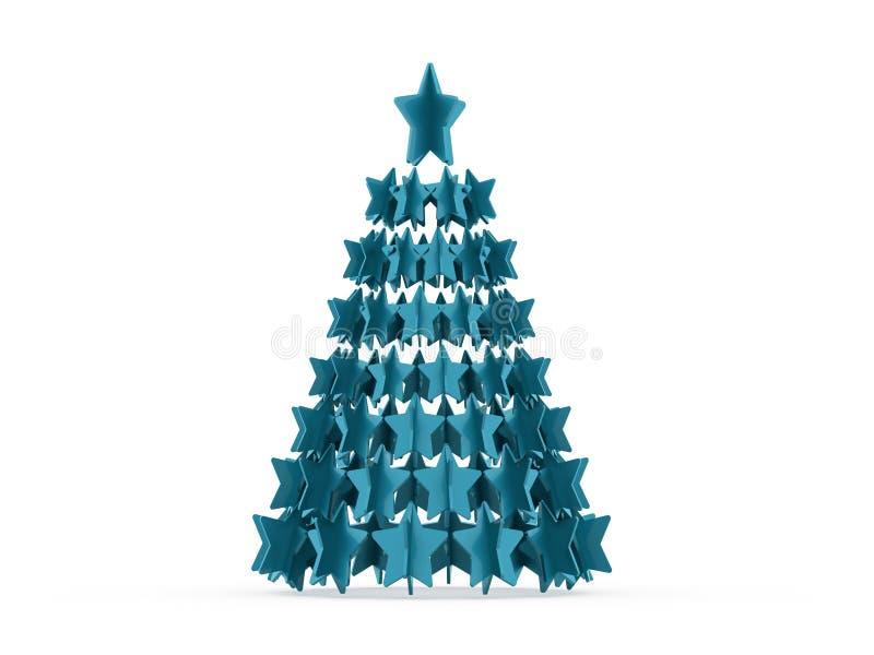 Moderne abstracte Kerstmisboom met teruggegeven sterren stock illustratie