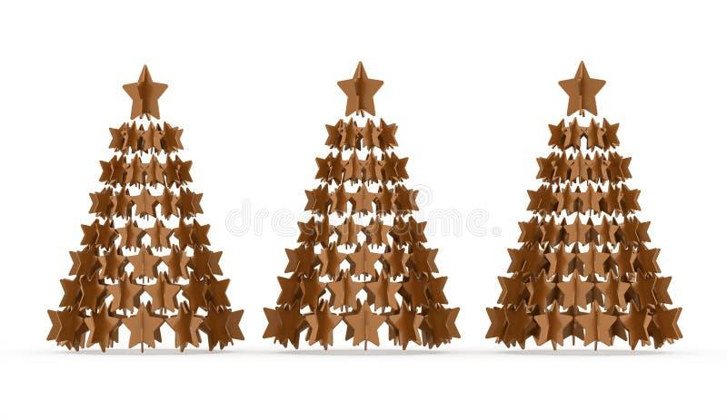 Moderne abstracte Kerstmisboom met teruggegeven sterren royalty-vrije illustratie
