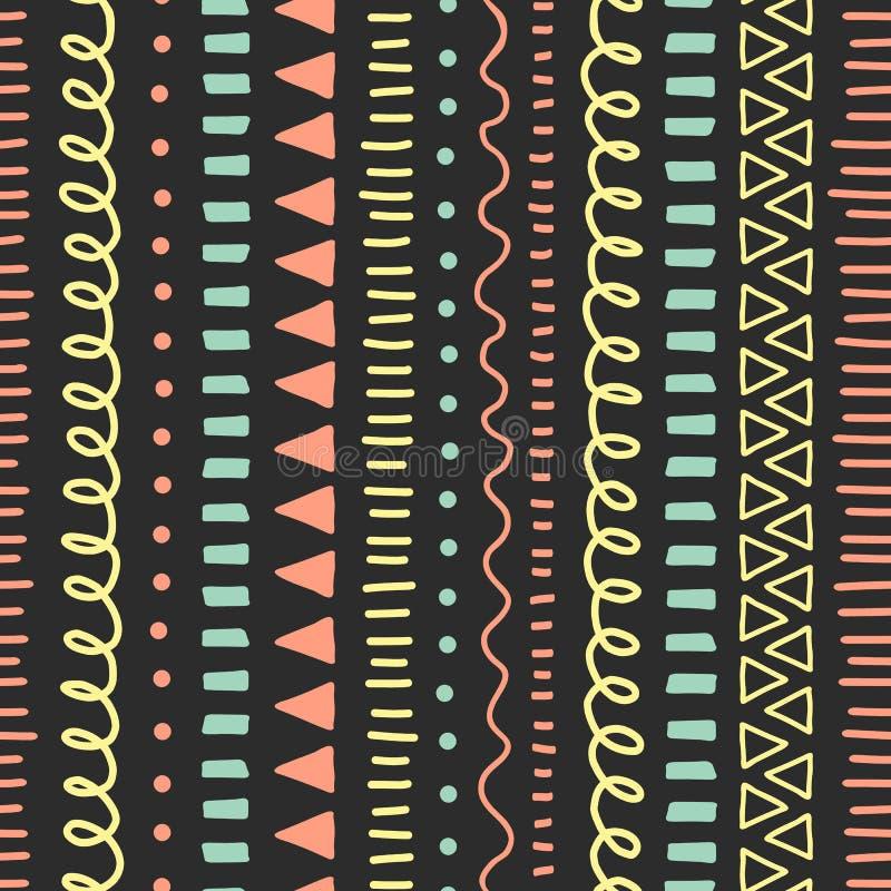 Moderne abstracte Krabbelachtergrond Naadloos vectorpatroon Etnisch en stammenstijl achtergrond blauw koraalroze, geel, royalty-vrije illustratie