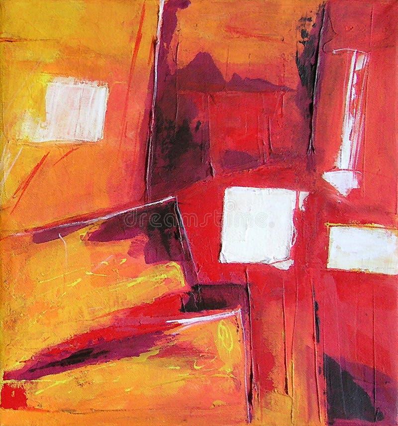 Moderne Abstracte Kunst die - schilderen - Wit Vierkant stock illustratie
