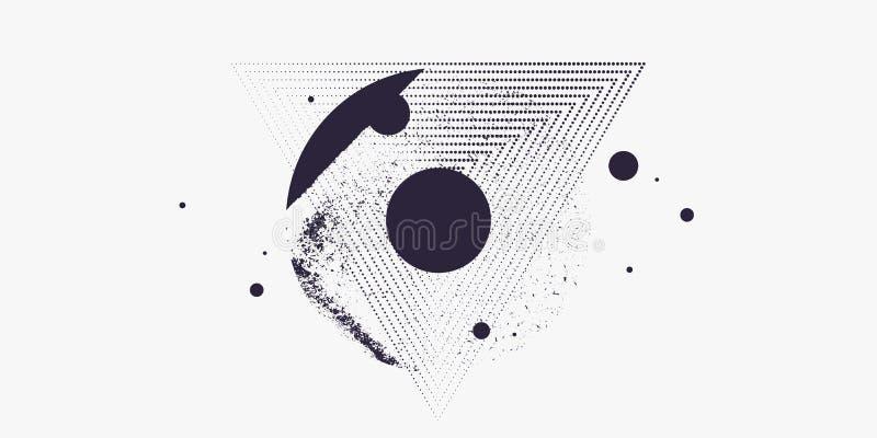 Moderne abstracte kunst geometrische achtergrond met vlakke, minimalistic stijl Vector affiche stock illustratie