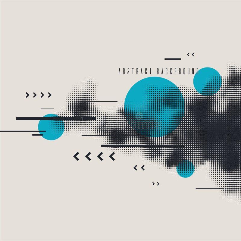 Moderne abstracte kunst geometrische achtergrond met vlakte Vectoraffiche met halftone element royalty-vrije illustratie
