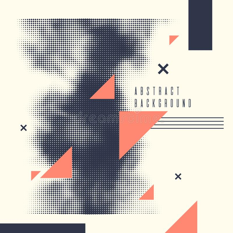 Moderne abstracte kunst geometrische achtergrond met vlakte Vectoraffiche met halftone element vector illustratie