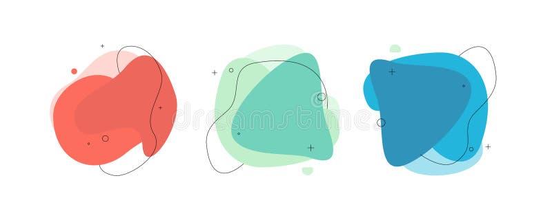 Moderne abstracte vectorbannerreeks Vlakke geometrische vloeibare vorm met diverse kleuren vector illustratie