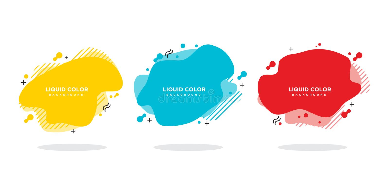 Moderne abstracte vectorbannerreeks Vlakke geometrische vloeibare vorm met diverse kleuren stock illustratie